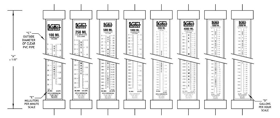 Calibration columns with fixed top caps technical drawing