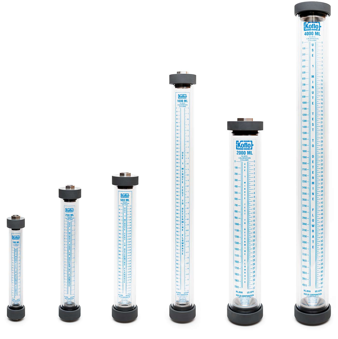 Glass Calibration Columns (shown with 316L stainless end caps)